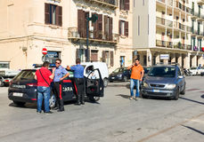 Car accident in the city center with police in assessments. Stock Image
