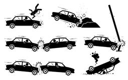 Car Accident and Crash.. Illustrations depict a car hit a man, driver drives and crash on boulders, road side pole, another vehicle head on, and back. The car Royalty Free Stock Image