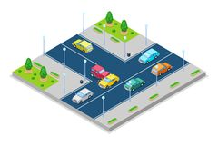 Car accident and crash, vector isometric 3D illustration. Collision at intersection of the main and secondary roads. Safety street traffic and road insurance Stock Photography