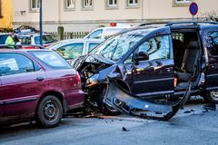 Car accident on a crossing street royalty free stock photography