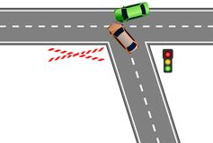 Car Accident. Accident at a crossing top view Royalty Free Stock Photo