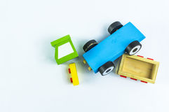 Car accident. Crushed toy truck on a white background Royalty Free Stock Photography