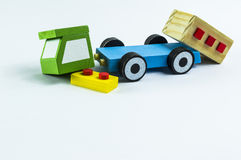 Car accident. Crushed toy truck on a white background Stock Photo