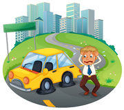 A car accident in the curve road near the empty signboard Royalty Free Stock Photography