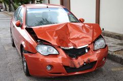 Car accident damage. Accident damage to the front of a car Stock Photo