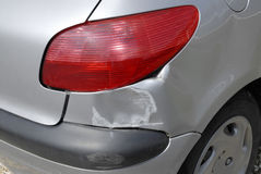 Car accident damage. Accident damage to the rear of a car Stock Images