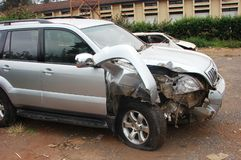Car accident. A damaged vehicle after an accident awaiting compensation by insurance company Stock Photo