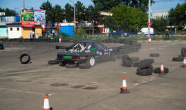 Car accident in drift contest Royalty Free Stock Images