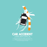 Car Accident With Footpath Stock Photo