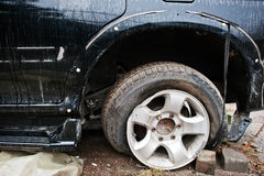 Car after accident. Front end of a vehicle after a car accident Stock Photo