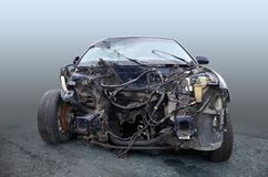 The car after the accident is a front view, without an engine royalty free stock photography