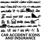 Car accident icons and insurance Stock Image