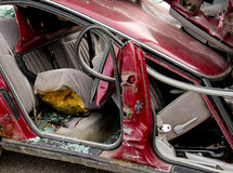 Car Accident Interior Broken Glass Stock Photo