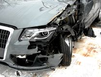 Car after an accident. Left front part of Audi Q5 following an accident with a truck Royalty Free Stock Images