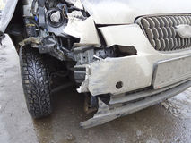 The car after the accident. Machine after the accident ,the bumper is broken Royalty Free Stock Image