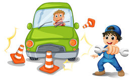 A car accident and a mechanic. Illustration of a car accident and a mechanic on a white background Stock Photography