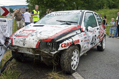 Car accident during Mountain Race Royalty Free Stock Photography