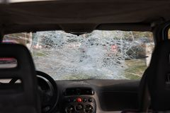 Car after an accident, after a pedestrian hit stock photos