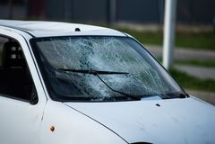 Car after an accident, after a pedestrian hit stock photo