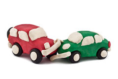 Car accident. Plasticine car accident  on white background Stock Image