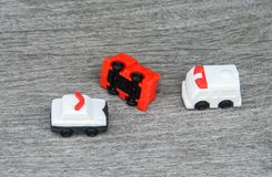 Car accident with police car and emergency ambulance for the injured. Secure Stock Photo