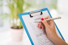 Car accident questionnaire Stock Photography