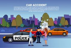 Car Accident On Road Drivers With Police Standing Over Broken Vehicle Collision Concept. Flat Vector Illustration stock illustration