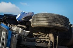 Car accident on a road in February 22, 2019, cargo vehicle drove off the road and turned upside down. Car accident on a road in February 22, 2019 truck driver stock photo