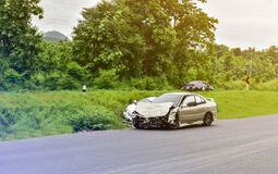 Car accident on road stock photos