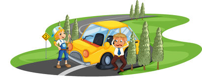 A car accident at the road near the pine trees Royalty Free Stock Photography