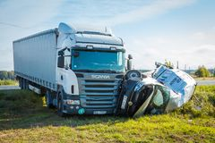 Car accident on a road in 20th of September 2018, next to Inchukalns, Latvia, car after a collision with a heavy truck stock images
