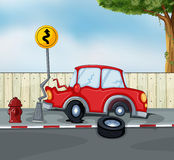 A car accident at the roadside near the hydrant Stock Image