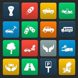 Car, accident 16 simple icons set for web Stock Photography