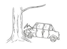 Car accident sketch Stock Photos