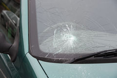 Car accident smashed broken windscreen Stock Image