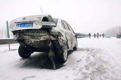 Car accident in the snow Stock Photos