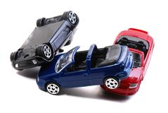 Car Accident. Toy car models representation of a traffic collision Stock Photos