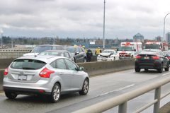 Car Accident in Vancouver, Canada Royalty Free Stock Photos