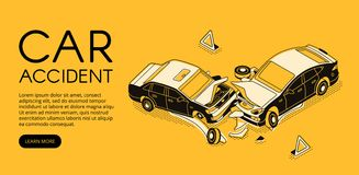 Car accident insurance vector illustration. Car accident vector illustration of vehicle crash for driver insurance or automotive repair service. Isometric black royalty free illustration