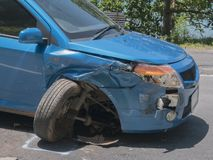 The car accident was hit in Koh Chang, Trat, Thailand royalty free stock photo