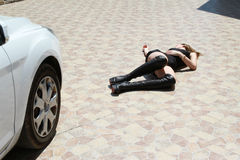 Car accident with woman Royalty Free Stock Photos
