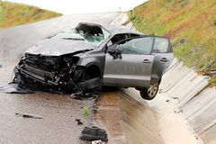 Car Accident and Wreckage stock photo