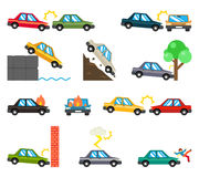 Car accidents flat icons. Auto crash, fire disaster, transportation automobile danger, vector illustration Royalty Free Stock Photography