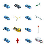 Car Accidents Isometric Icons Set Royalty Free Stock Images