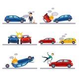Car accidents set on white Stock Photo