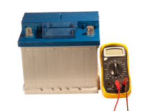 Car Accumulator And Multimeter Royalty Free Stock Photography