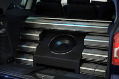 Car acoustic system. Modern acoustic system for music listening in the car Royalty Free Stock Photo