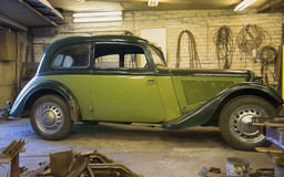 The car Adler Trumpf Junior 1937 v. in the garage Royalty Free Stock Photography