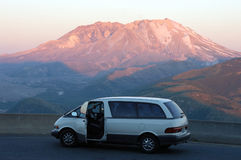 Car against Mount St Helens Stock Photos