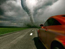 Car against tornado Stock Photo